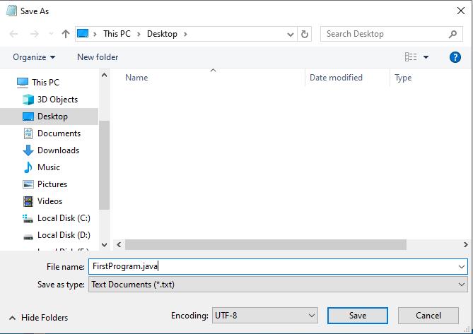 Creating First Java Program