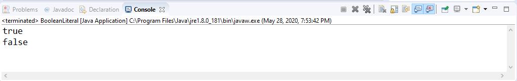Boolean Literal in Java