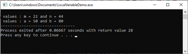 LOCAL VARIABLE IN C