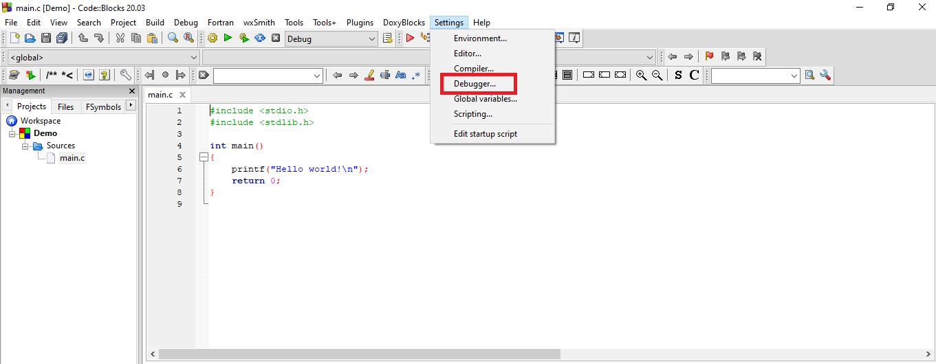 GNU Compiler and Debugger in CodeBlocks
