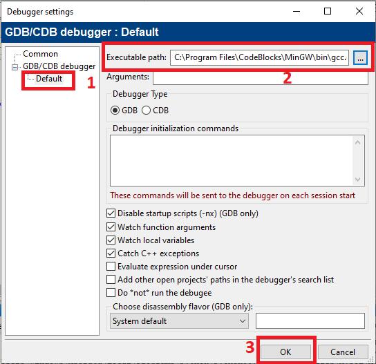 Setting GNU Compiler and Debugger in CodeBlocks