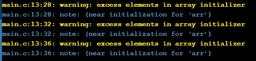 initialize an array with more elements than the specified size