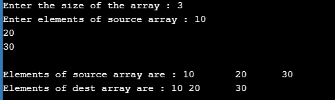 Example of Copying One Dimensional Array in C
