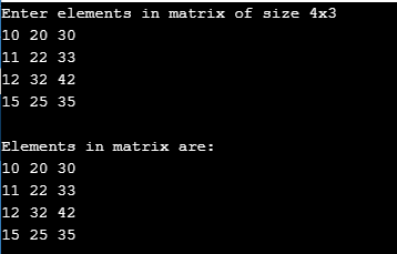 Program for Two-Dimensional Array in C