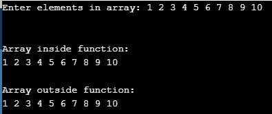Pass the returned array as parameter in C