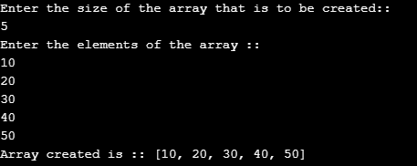 Program to return an array from a method in java
