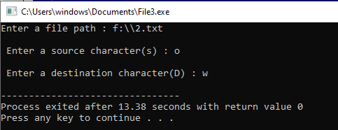 Program to Find and Update (or Replace) a character in C