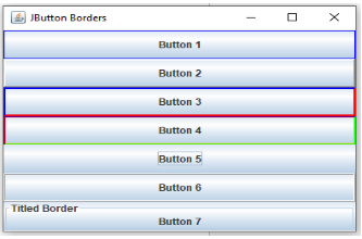 Program to understand JButton and Border controls in Swing Java